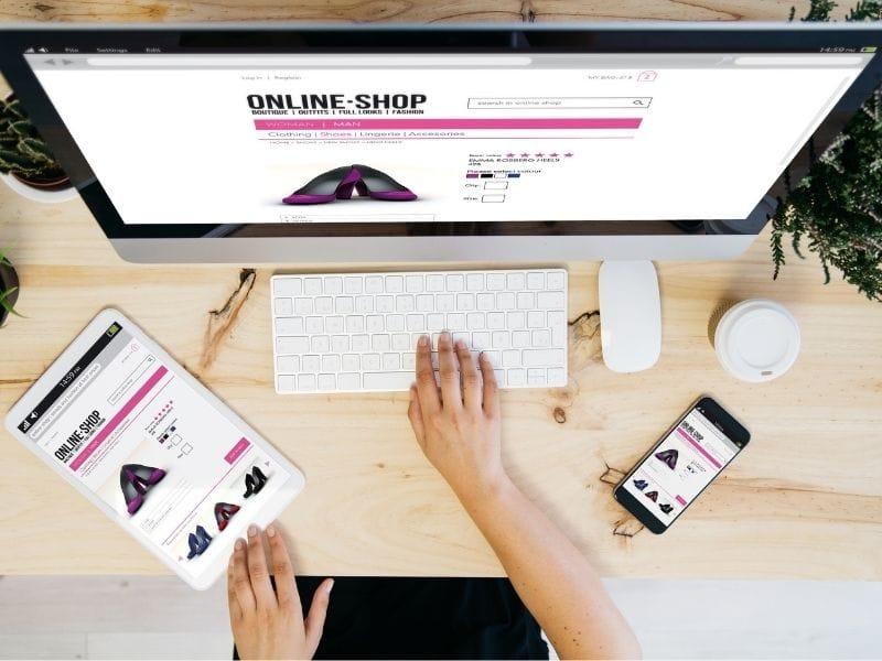 ecommerce website design tips - online shop on computer, tablet and mobile